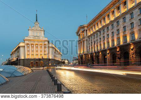 Sofia, Bulgaria - February 29, 2020: Square Nezavisimost With Former Communist Party House In Sofia,