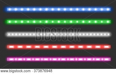 Led Strips With Neon Glow Effect Isolated On Transparent Background. Vector Realistic Set Of Colored