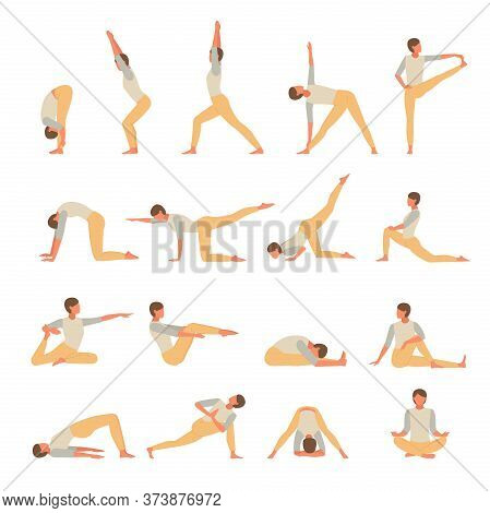 Female Character Engaged Fitness Yoga Set. Girl Actively Conducts Asana Exercises Stands Pose Of Tre