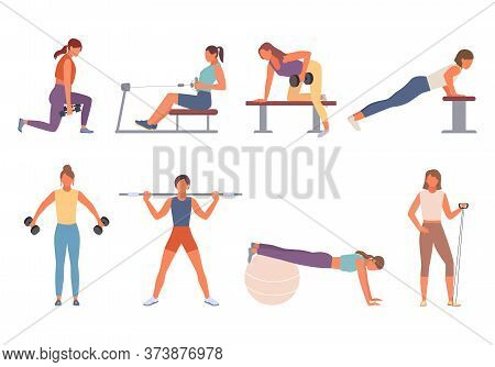 Fitness In Gym Set. Female Character Shakes Triceps Dumbbells Squeezes Out From Fitness Ball Trainin