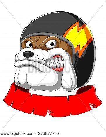 Bulldog Wearing Helmet Racer Mascot Of Illustration