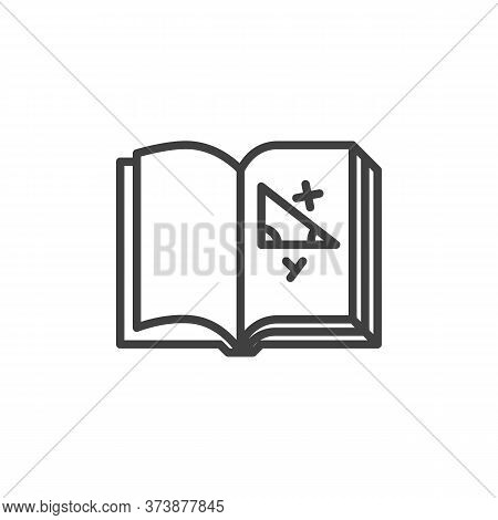 Geometry Book Line Icon. Linear Style Sign For Mobile Concept And Web Design. Book With Geometry Tri
