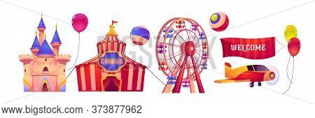 Carnival Funfair With Circus Tent, Ferris Wheel And Magic Castle. Vector Cartoon Set Of Attractions