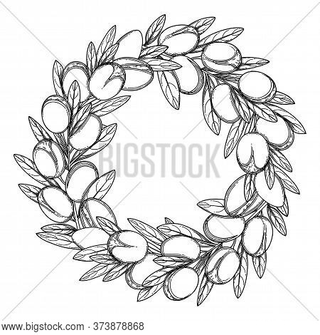 Graphic Argan Wreath Isolated On White Background