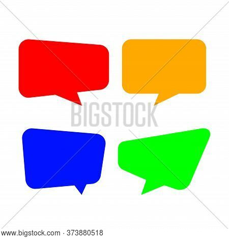 Speech Bubble For Message Talk, Copy Space Text, Colorful Speech Bubble Square Isolated On White, La