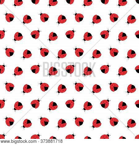 Red Ladybug Beetles, Coccinellidae Vector Seamless Pattern Background.