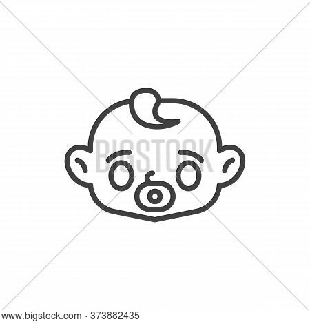 Baby Face With Pacifier Line Icon. Linear Style Sign For Mobile Concept And Web Design. Baby Sucks A