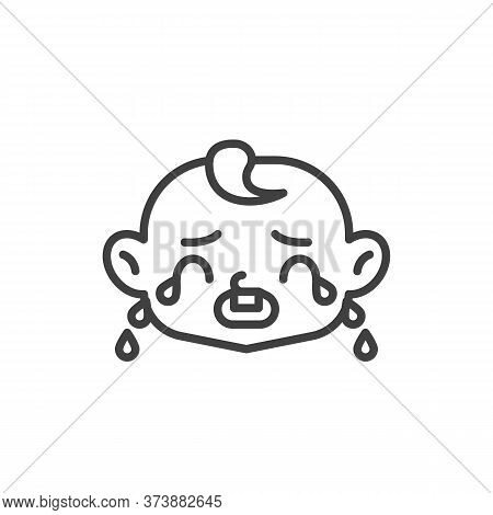Loudly Crying Baby Face Line Icon. Linear Style Sign For Mobile Concept And Web Design. Crying Child