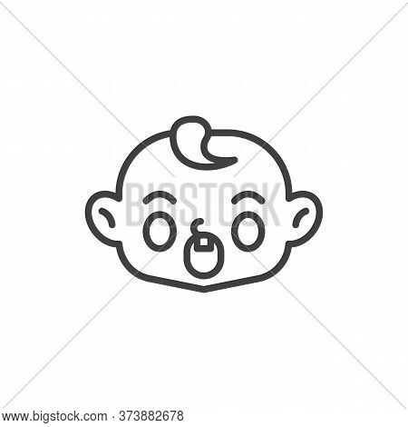 Anguished Baby Face Line Icon. Linear Style Sign For Mobile Concept And Web Design. Screaming Child