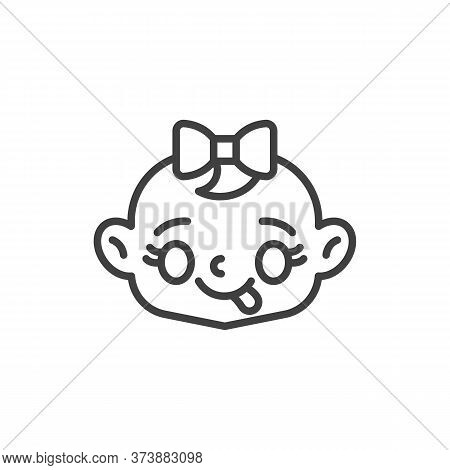 Baby Face Savoring Food Line Icon. Linear Style Sign For Mobile Concept And Web Design. Baby Girl St