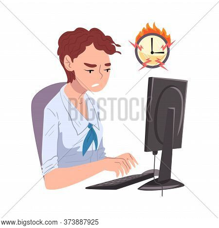 Businesswoman Working Overtime At Deadline, Overloaded Female Office Worker Sitting At Workplace In