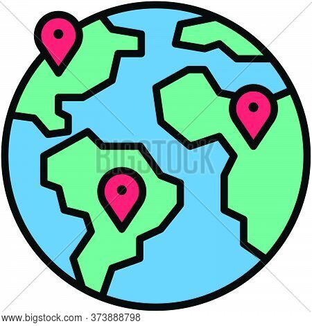 Global Location, Telecommuting Or  Remote Work Related Icon