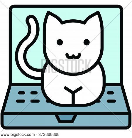 Cat On Laptop, Telecommuting Or  Remote Work Related Icon