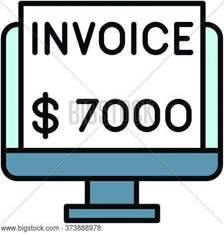 Invoice, Telecommuting Or Remote Work Related Icon, Vector Illustration