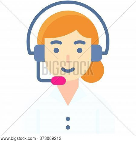 Woman Operator, Telecommuting Or  Remote Work Related Icon