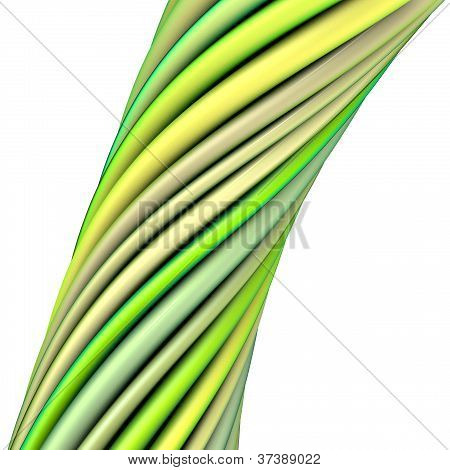 3D Glossy Twisted Cable In Green Yellow On White