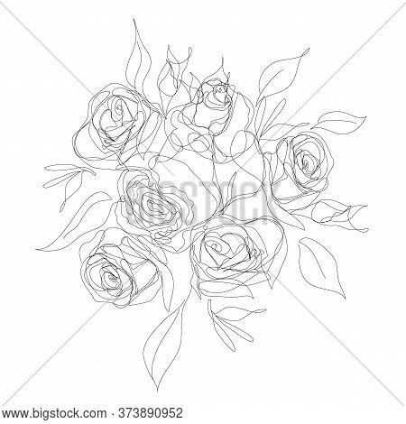One Line Style. Bouquet Of Roses. Trendy Vector Outline Drawing Isolated On White. Hand-drawing Blac