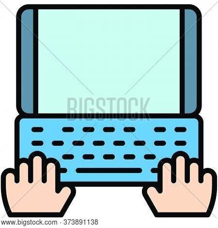 Laptop Vector, Telecommuting Or  Remote Work Related Icon