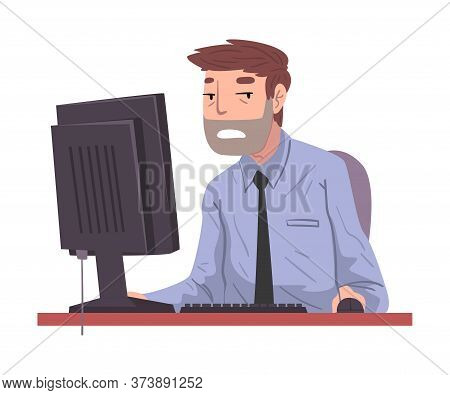 Male Office Worker Working Overtime, Overworked Businessman Sitting At Workplace In Office, Deadline