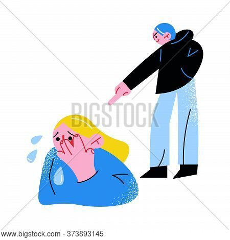 Angry Man Bullying And Pointing With Finger At Crying Afraid Girl