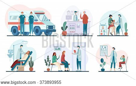 Vector Illustrations Of Medical Practitioners Doing Job