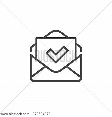 Received Mail Line Icon. Envelope And Check Mark Linear Style Sign For Mobile Concept And Web Design