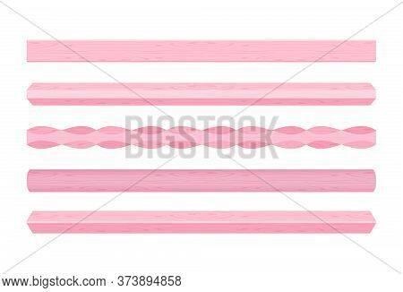 Wooden Vertical Lath Different Pink Pastel Soft Color Isolated On White, Wooden Slat Poles Pink Colo