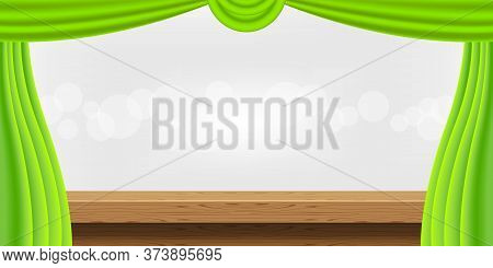 Wood Plank Table And Luxury Green Curtains For Advertise Product Display, Wooden Top Table Decoratio