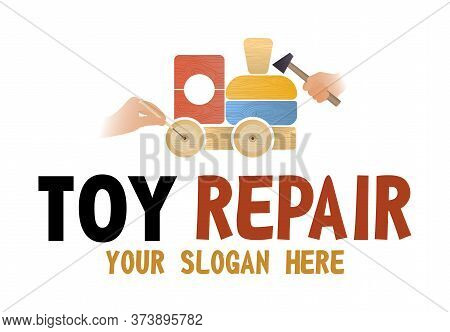 Toy Repair Shop Vector Isolated Logo. Concept Of Fix Antique Old Toys. Before And After Toys Restora