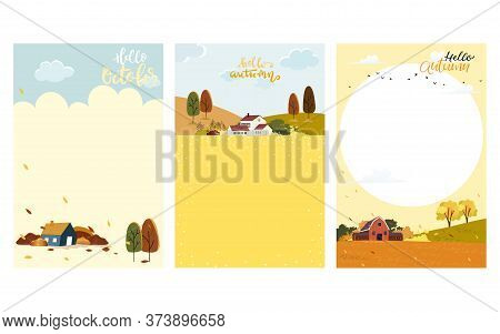 Set Of Cute Cartoon Autumn Landscape Farm Fild With Copy Space, Vector Hello Autumn With Forest Tree