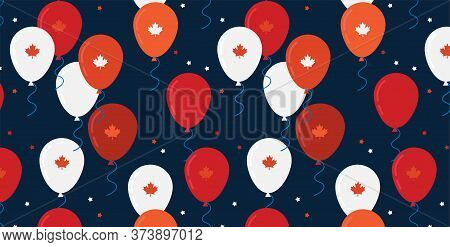 Canada Day Celebration Banner. Canada Independence Day Flying Flat Balloons In National Colors Of Ca
