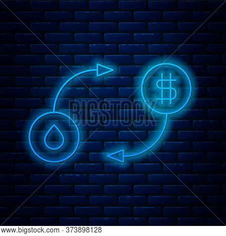 Glowing Neon Line Oil Exchange, Water Transfer, Convert Icon Isolated On Brick Wall Background. Vect