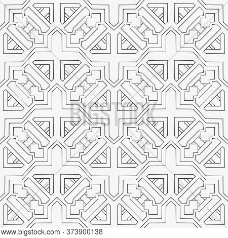 Seamless Geometric Vector Pattern. Ethnic Motif. Abstract Background With Repeating Geometric Shapes