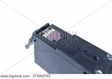 Printer Ink Cartridge Chip. Isolated On A White Background. Cartridge Chip