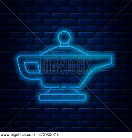 Glowing Neon Line Magic Lamp Or Aladdin Lamp Icon Isolated On Brick Wall Background. Spiritual Lamp