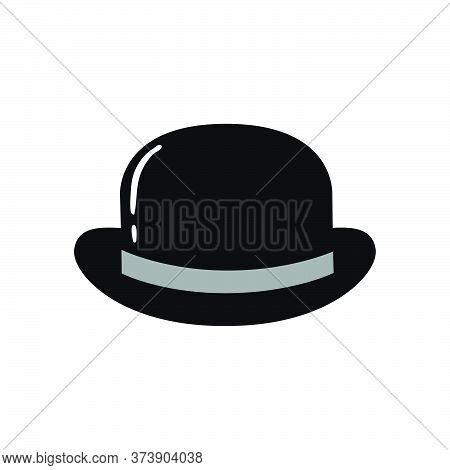 Bowler Hat Black And White Flat Icon. Vector Illustration.