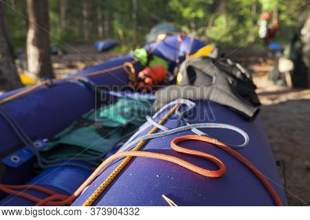 Raft Is Drying. Rest Point On Island. Active Extreme Holidays In Karelia. Water Rafting In North Lak
