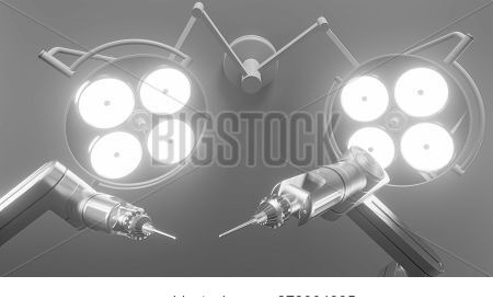 Robot Surgery Machine With Surgery Lights In Operation Room. 3d Rendering