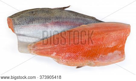 Two Pices Of The Trout Fillet On The Skin As A Boneless Halves Of The Fish Are Lying Skin Side Up An