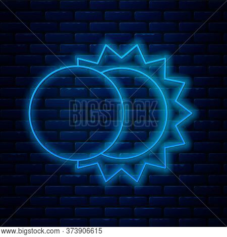 Glowing Neon Line Eclipse Of The Sun Icon Isolated On Brick Wall Background. Total Sonar Eclipse. Ve