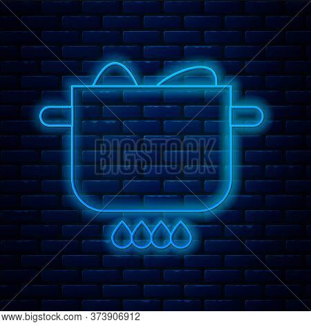 Glowing Neon Line Egg In Hot Pot Icon Isolated On Brick Wall Background. Boiled Egg. Happy Easter. V