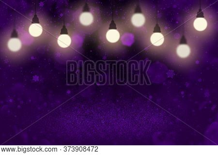 Purple Fantastic Shiny Abstract Background Glitter Lights With Light Bulbs And Falling Snow Flakes F