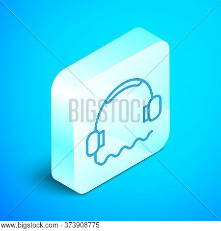 Isometric Line Headphones Icon Isolated On Blue Background. Support Customer Service, Hotline, Call