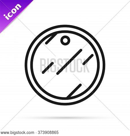 Black Line Cutting Board Icon Isolated On White Background. Chopping Board Symbol. Vector
