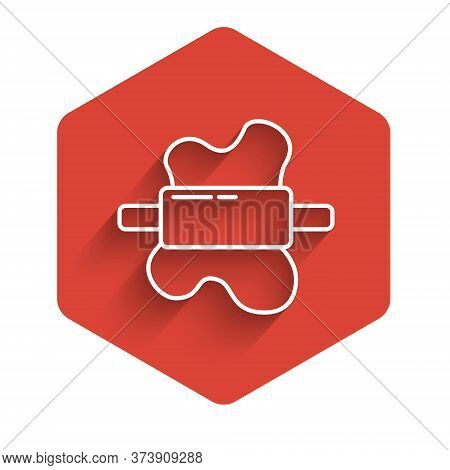 White Line Rolling Pin On Dough Icon Isolated With Long Shadow. Red Hexagon Button. Vector