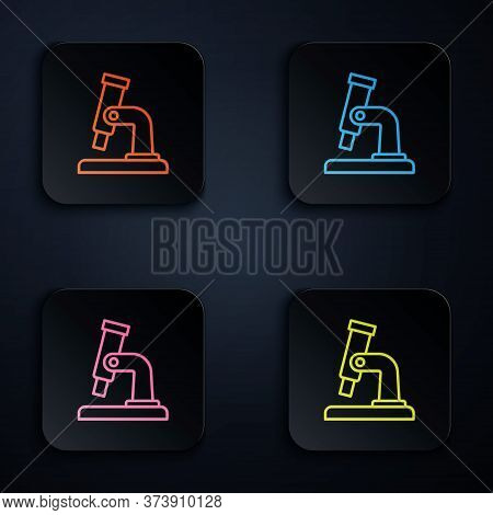 Color Neon Line Microscope Icon Isolated On Black Background. Chemistry, Pharmaceutical Instrument,