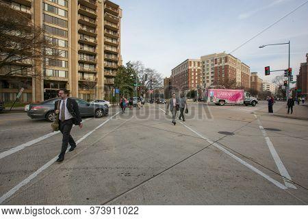 Spring, 2016 - Washington DC, USA - Busy intersection in downtown Washington DC