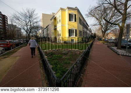 Spring, 2016 - Washington DC, USA - Residential Real Estate. Cozy beautiful townhouses in the center