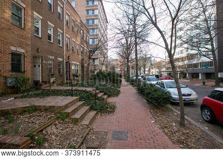 Spring, 2016 - Washington Dc, Usa - Cozy Streets Of The Us Capital. Residential Neighborhoods Washin