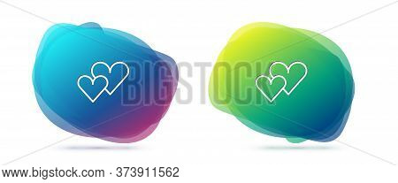 Set Line Heart Icon Isolated On White Background. Romantic Symbol Linked, Join, Passion And Wedding.
